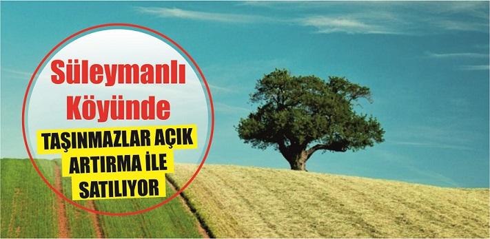 Süleymanlı  Köyünde TAŞINMAZLAR AÇIK  ARTIRMA İLE  SATILIYOR